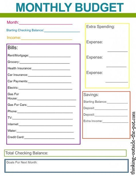 monthly family budget planner