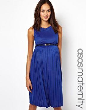 f0e691d75b9fd ASOS Maternity Sleeveless Midi Dress with Pleated Skirt   Bébé ...