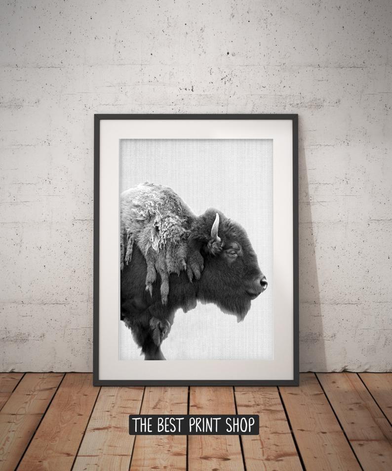 Photo of Buffalo Print, Bison Wall Art, Black and White Buffalo, Modern Minimal, Animal Photography, Printable Art, Instant Download, large poster