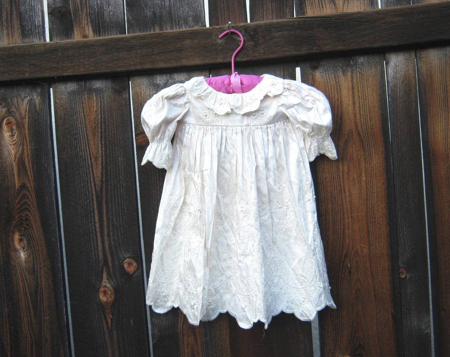 Photo of Embroidered Silk Antique Baby Dress w/ Faux Pearl Embellishment/Scalloped Hem/Ruffled Collar/19″ Chest; Christening/Baptism/Photo Shoot