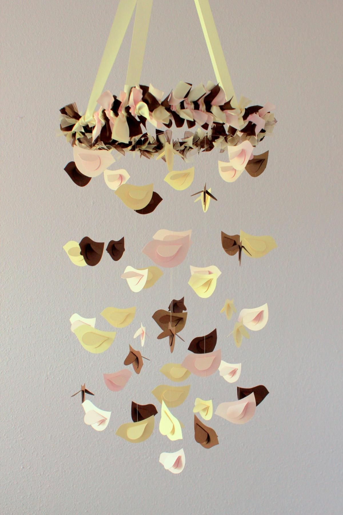 Bird Mobile - Ivory, Chocolate, Pink- for Nursery, Wedding Decor ...