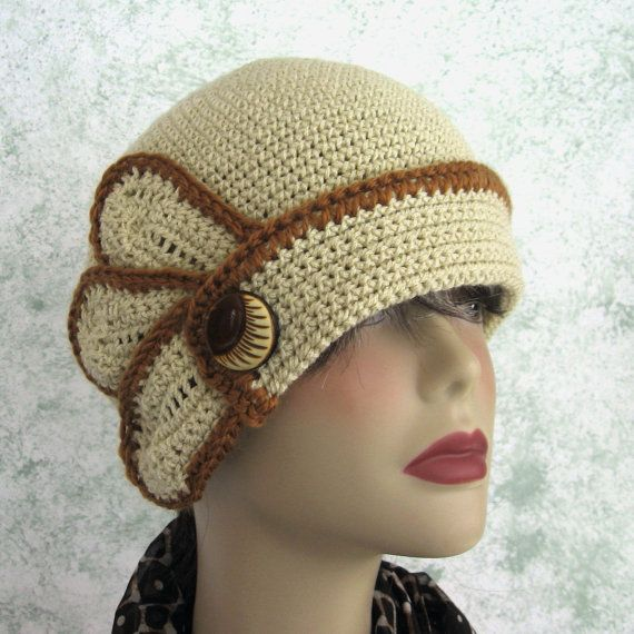 Crochet Hat Pattern Womens Flapper Style With Petal And Button Trim