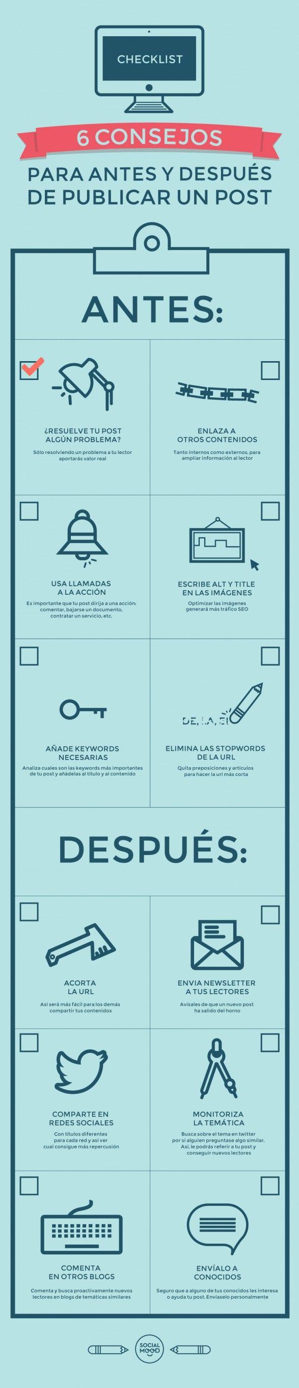 6 consejos para antes y después de publicar un post. #Infografía en español #CommunityManager #RedesSociales #MarketingOnline #InternetMarketing #Infografia #CapacitaciónOnline