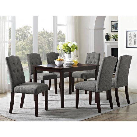 majestic looking gray upholstered dining chairs. Better Homes and Gardens 5 Piece Dining Set with Upholstered Chairs  Grey