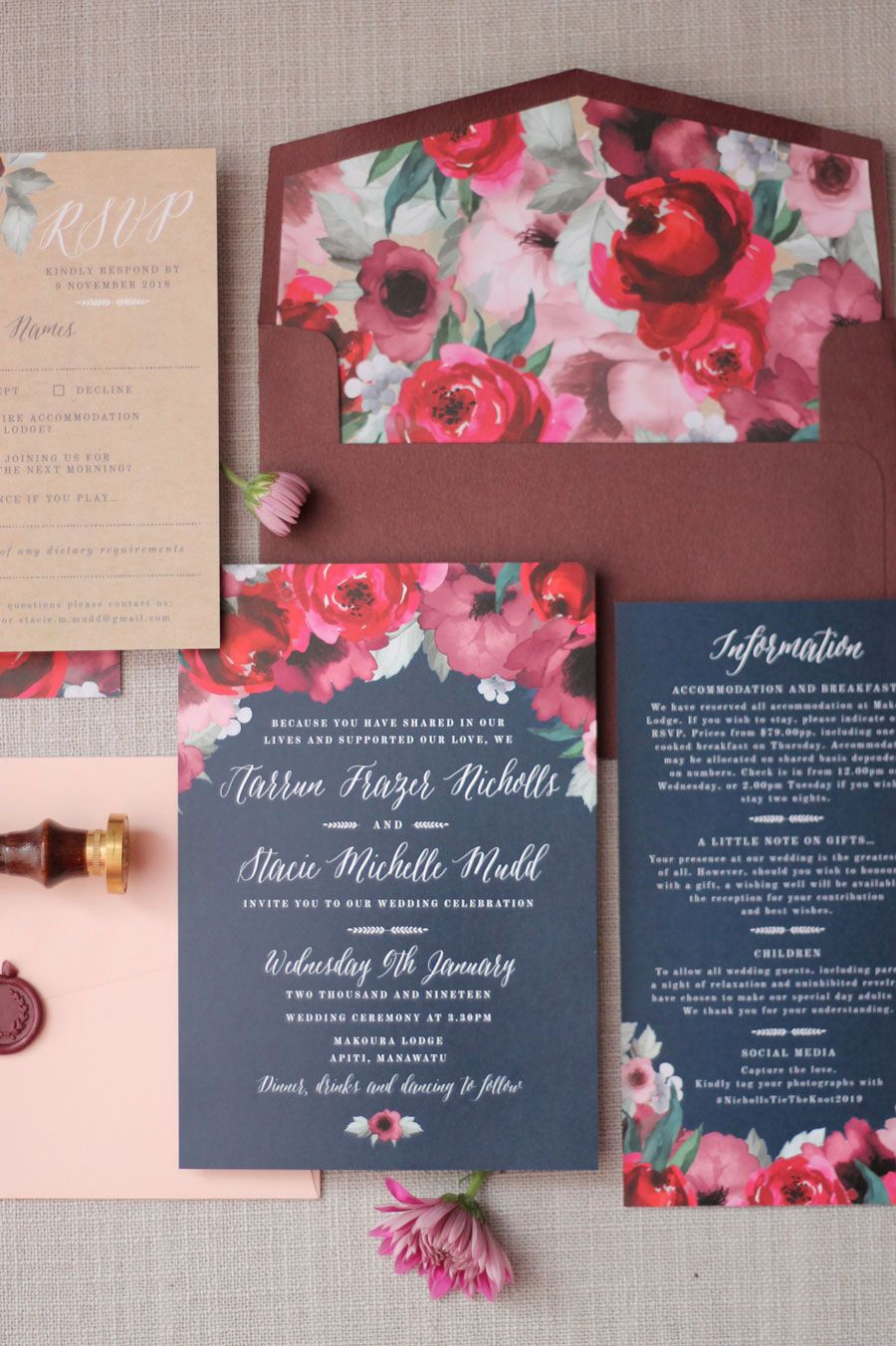 Just My Type Wedding Invitation Stationery NZ, Navy, Burgundy ...