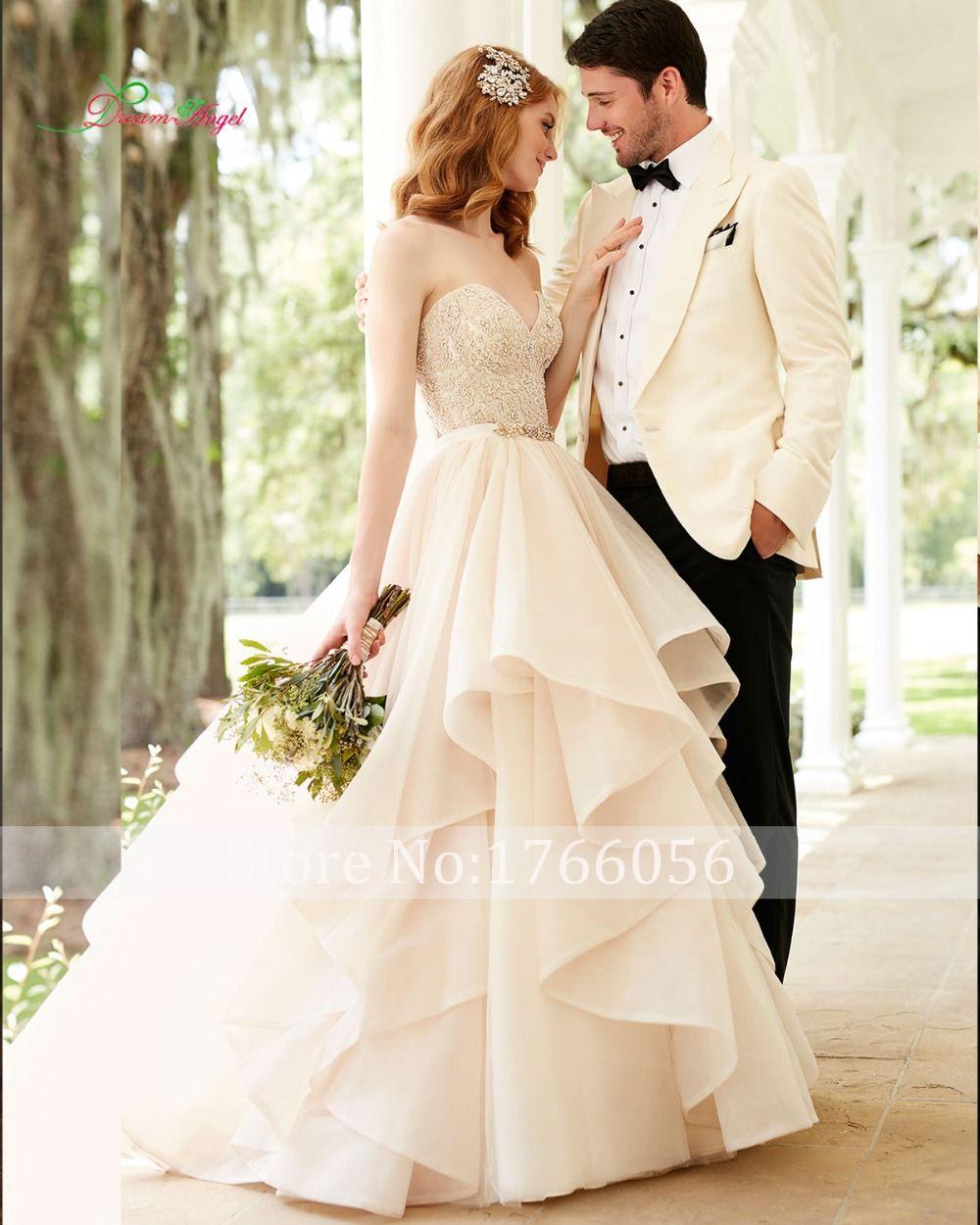 New designer elegant strapless crystal ruffles a line wedding dress