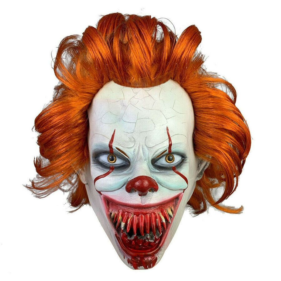 Scary Clown Mask Hair Evil Halloween Party Fancy Dress Kids Adult Cosplay Prop