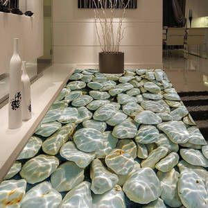 Fototapete Moderne 3d Kiesel Wasser Wellen Bodenfliesen Malerei
