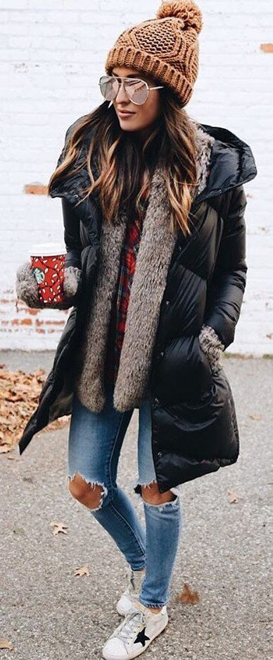 #winter #fashion / Brown Beanie / Black Puff Jacket / Grey ...