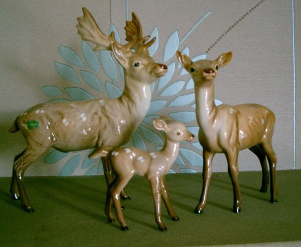 BESWICK DEER FAMILY STAG DOE FAWN No 981 999A 100B GLOSS RARE MODELS PERFECT