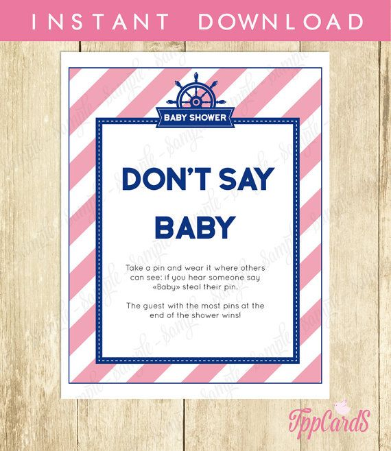 Baby Shower Clothes Pin Game Captivating Don't Say Baby Game Baby Shower Games Printable Nautical Don't Say Design Inspiration