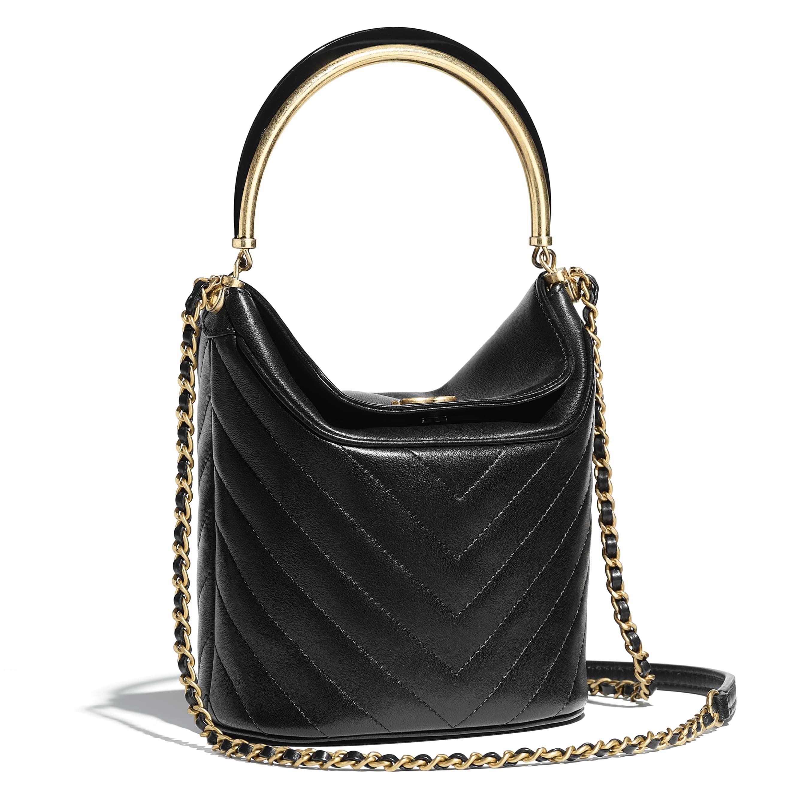 b361b55fb1aa1b Lambskin & Gold-Tone Metal Black Bucket Bag | CHANEL | Fashion | New ...