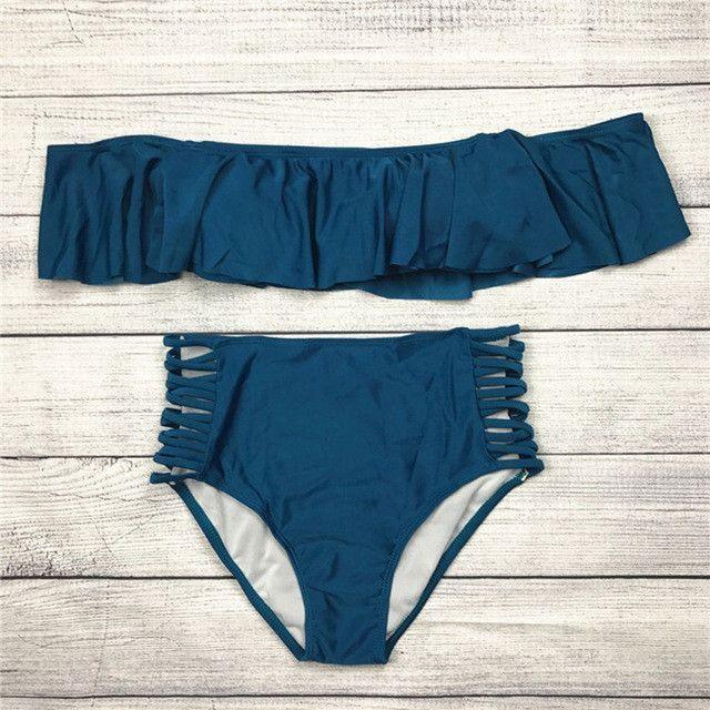 Alana Off-the-Shoulder Ruffle Bikini Set - Blue