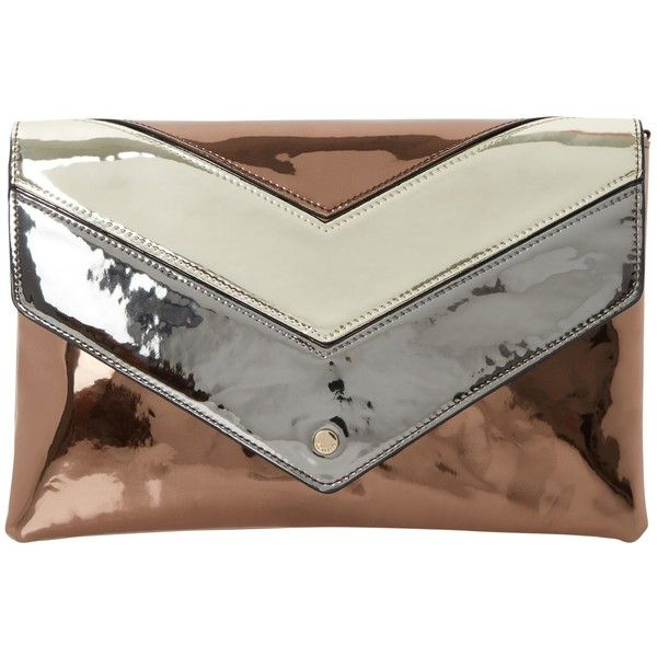 Dune Berlyn Envelope Clutch Bag, Bronze ($67) ❤ liked on Polyvore featuring bags, handbags, clutches, bronze purse, hand bags, cocktail purse, faux-leather handbags and envelope clutch