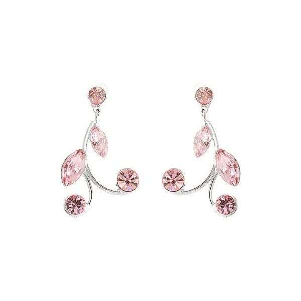 Perfect Gift High Quality Pink Leaves Earrings with Pink Swarovski... (£7.59) ❤ liked on Polyvore featuring jewelry, earrings, leaf earrings, swarovski crystals jewelry, pink jewelry, summer earrings and pink earrings