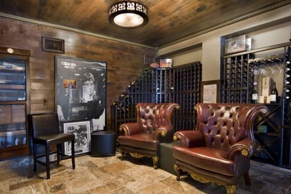Contemporary Wine Cellar with Kennedy walnut leather