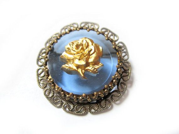 Vintage Blue Glass Gold Rose Brooch Pin by SoBejeweled on Etsy, $15.00
