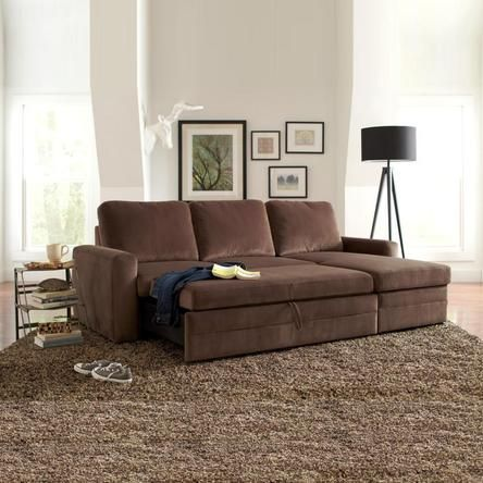Coaster Functional Brown Microfiber Upholstered Sectional Arm Sofa Bed with Storage Chaise