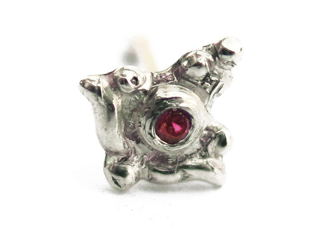 Piercing your nose  Handmade Iris nose piercing sterling silver  natural ruby gemstone