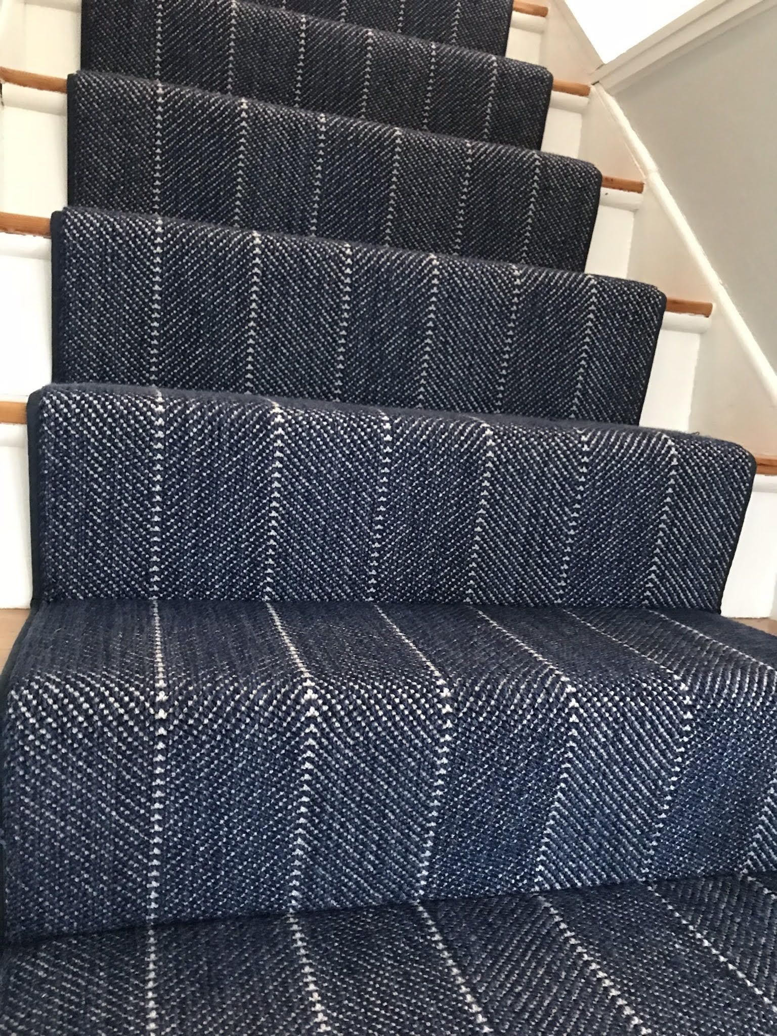 A New Herringbone Stair Runner Install Done Over In Halifax Ma Interested In How To Get Your Stairs Done Drop Grey Carpet Bedroom Stair Runner Carpet Stairs