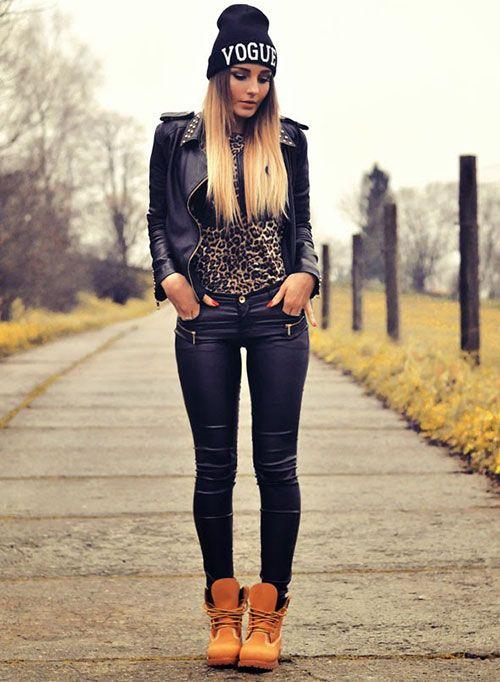 tenue swag avec timberland femme