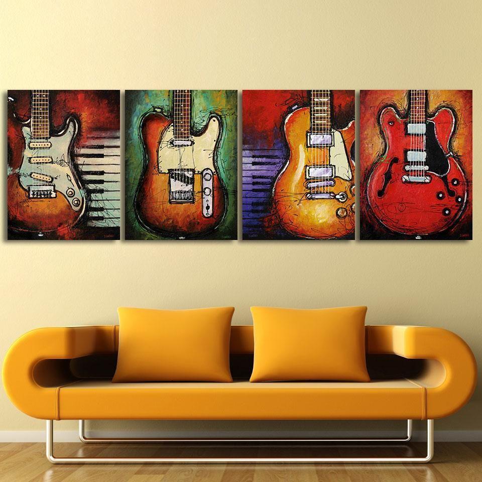 4 Piece Guitar Lovers Canvas Wall Art Sets | Wall art sets, Guitars ...