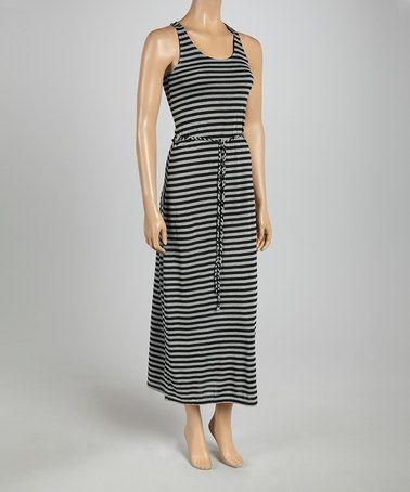 Look what I found on #zulily! Black & Heather Gray Stripe Tie-Waist Maxi Dress by Just Love #zulilyfinds