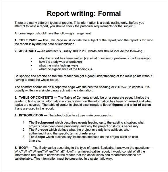 Samples Of Report Writing Sample Report Writing Format   Free