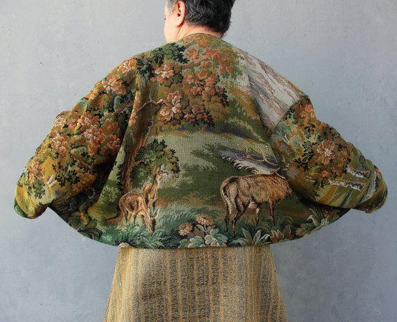 Woodland Deer Coat, Mori Girl Clothing, Jacket with Zipper Vintage  Landscape Gobelin Fabric Plus Size Clothing US size 16/18 EU size 46/48