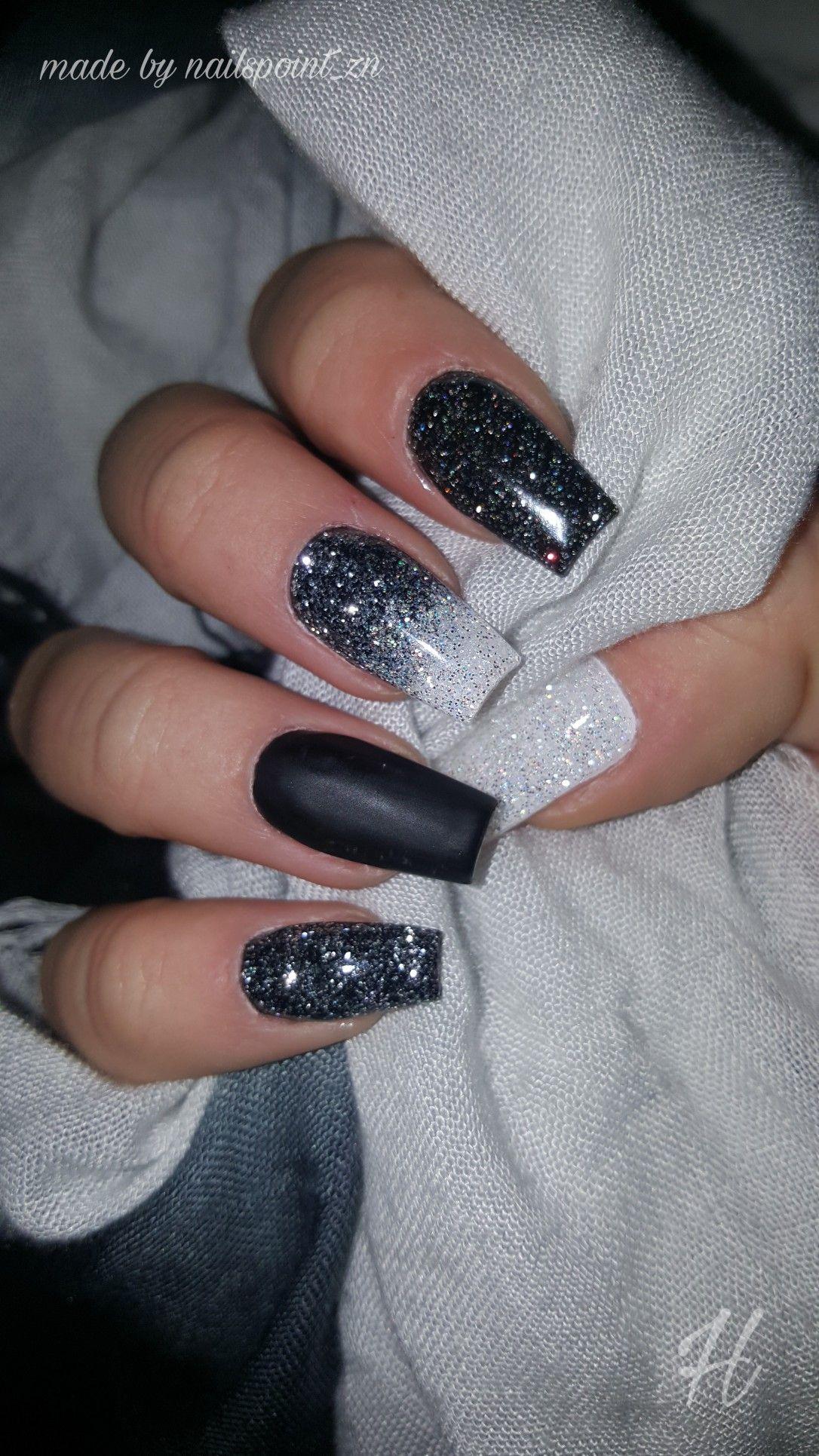 schwarz wei n gel nails glitzer verlauf new nails made by nailspoint zn sch ne n gel