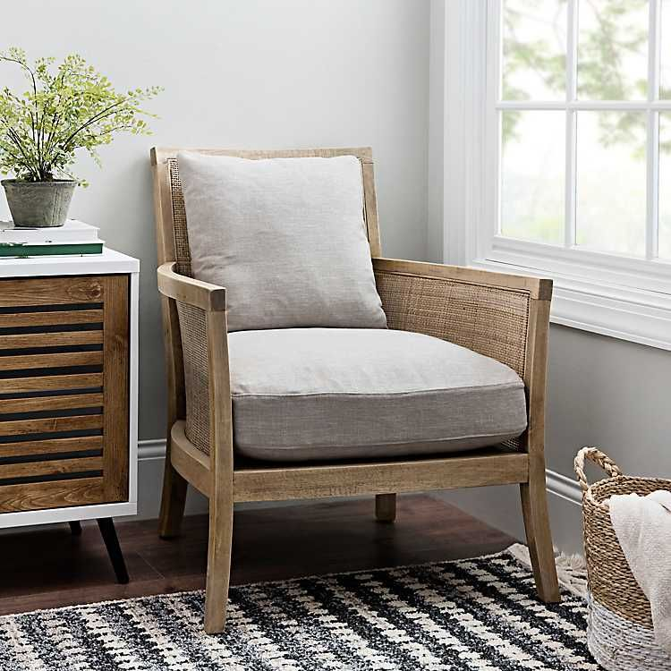 Cane Wood Trim Accent Chair From Kirkland S In 2020 Accent Chairs For Living Room Accent Chairs Farmhouse Accent Chair