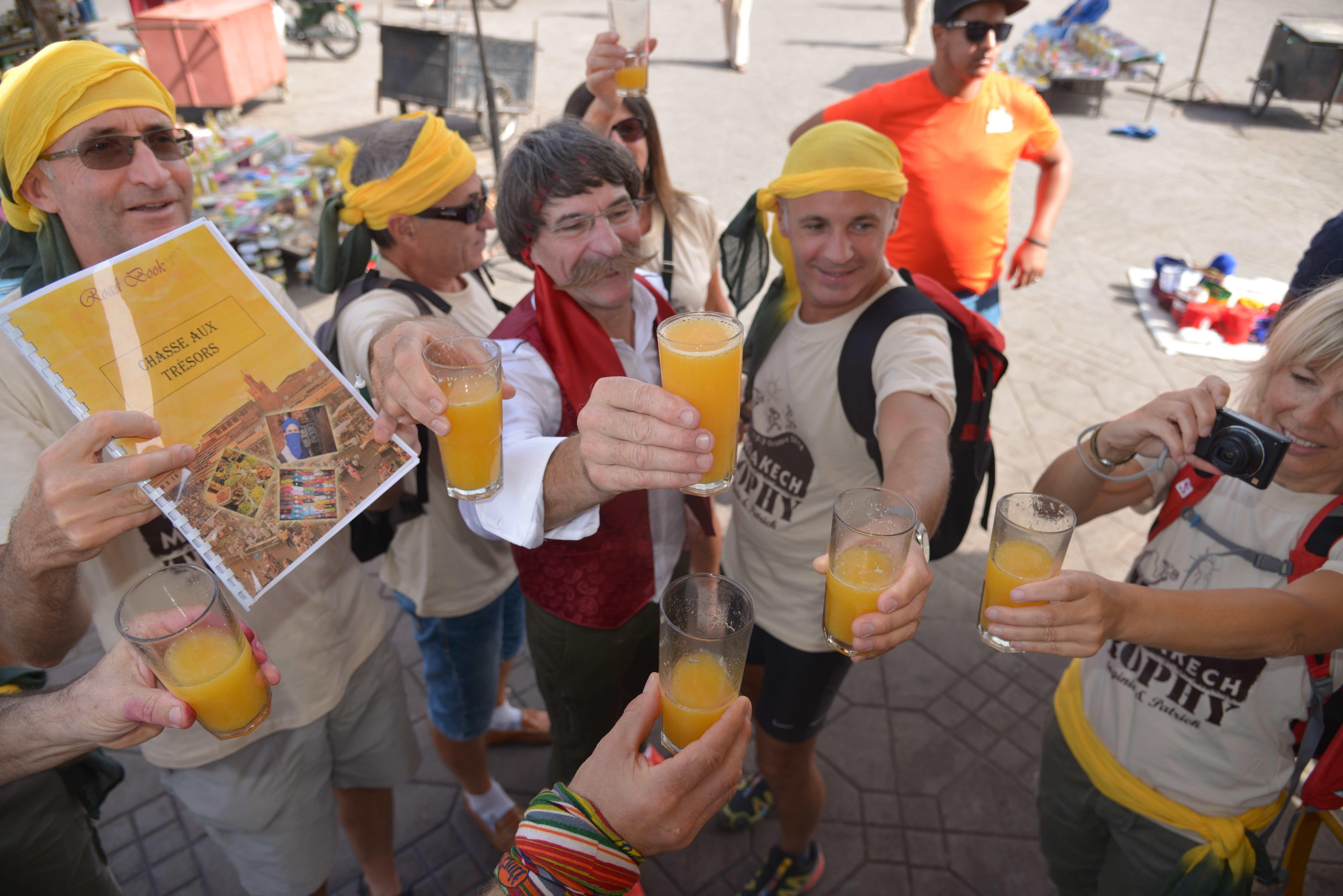 jus d'orange place djama efna  pendant les activités à Marrakech