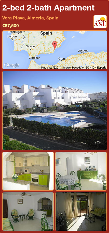 2-bed 2-bath Apartment in Vera Playa, Almeria, Spain ►€87,500 #PropertyForSaleInSpain