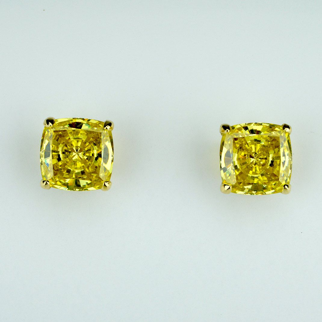 Four G Fancy Canary Yellow Diamond Stud Earrings Are Featured In 1 Carat Total And Up Prices Vary Depending On The Size Of Diamonds
