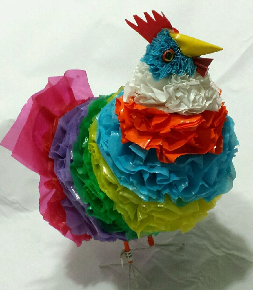 Chicken Hen Rooster Recycled Outsider Art Folk   Plastic Bags Figural Sculpture  #Outsider