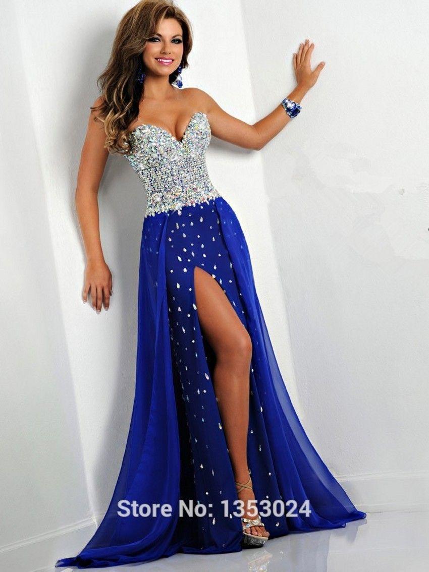 2bd0c2f2cf Aliexpress.com  Comprar Azul real vestido de fiesta 2016 Sexy gasa del amor  del diamante cristalino de lujo asimetría Party Dresses Prom vestidos para  ...