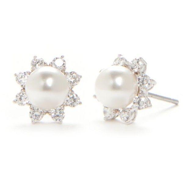 Nadri Silver Isolde Pearl Stud Earrings ($40) ❤ liked on Polyvore featuring jewelry, earrings, silver, pearl jewelry, silver jewellery, flower earrings, silver stud earrings and stud earrings