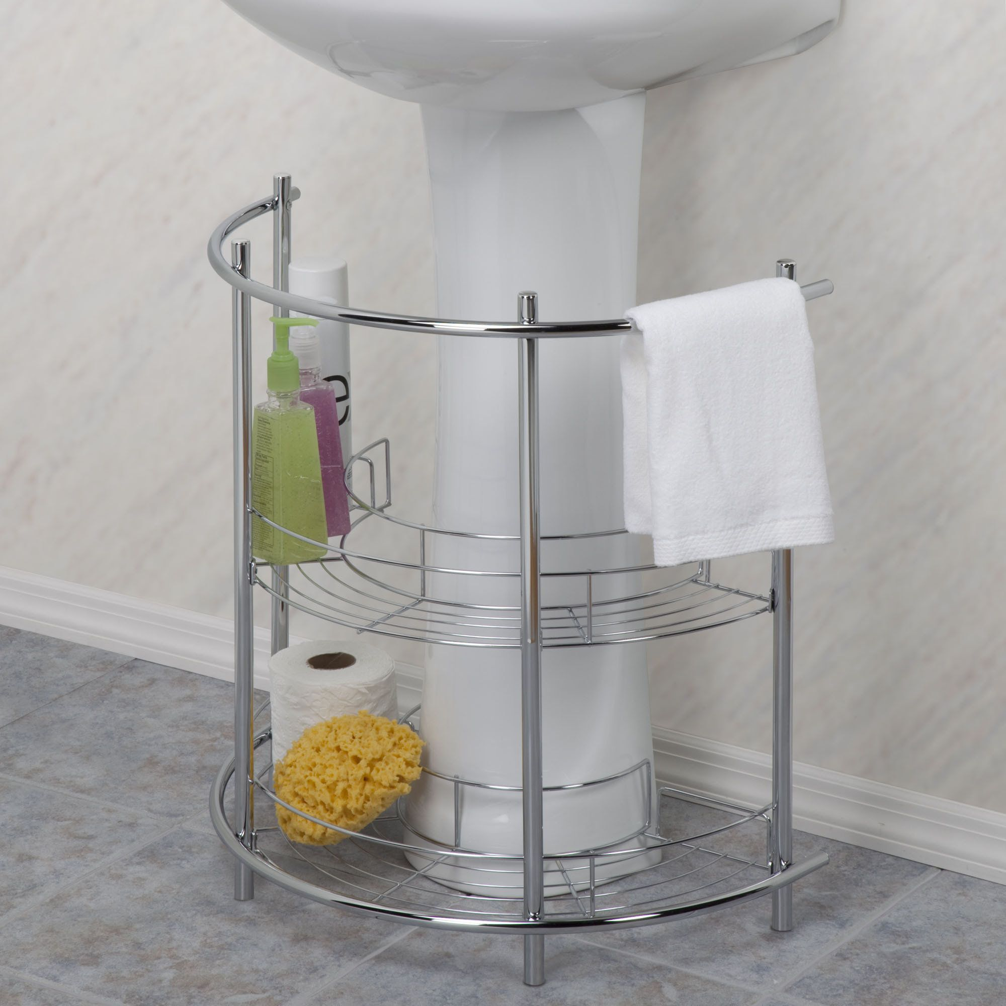 find this pin and more on ideas bathroom storage shelf nickel chrome finish under sink pedestal