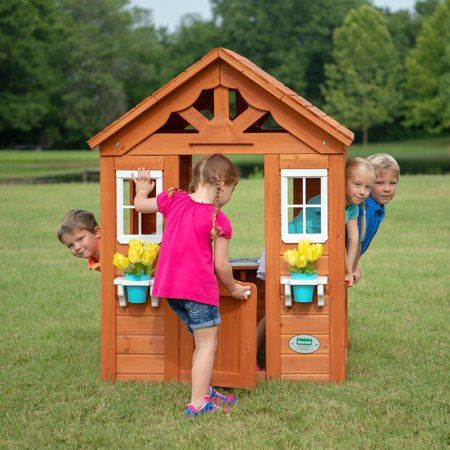 Backyard Discovery Timberlake Cedar Wooden Playhouse Image 2 Of 7
