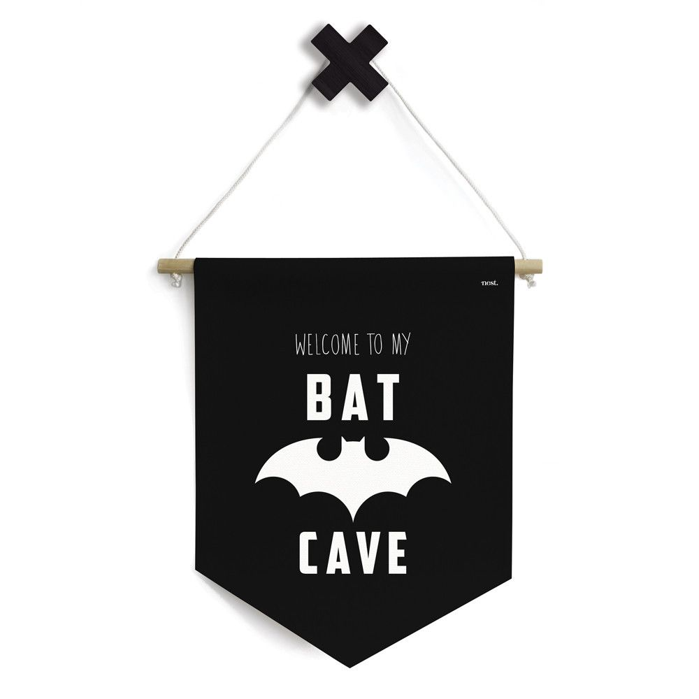 The Bat Cave Banner By Nest Accessories Is Perfect Way To Finish Off Your Little Ones Hideaway Batman Batcave Monochrome Kidsdecor Kidsroom