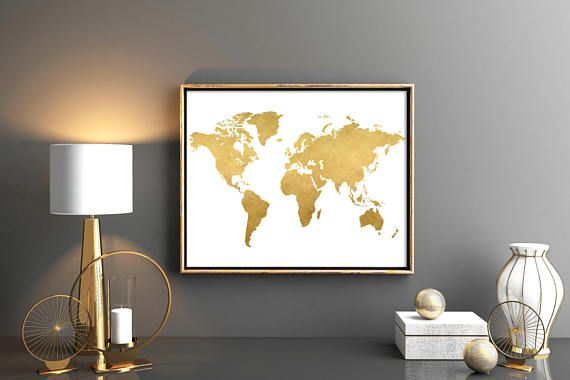 Gold world map world map printable map poster map wall art weltkarte gold world map world map printable map poster map wall art weltkarte poster poster world map world map nursery gumiabroncs Gallery