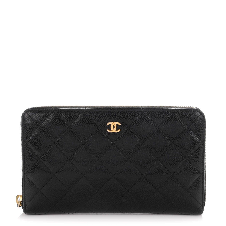 Chanel caviar quilted large zip around organizer wallet