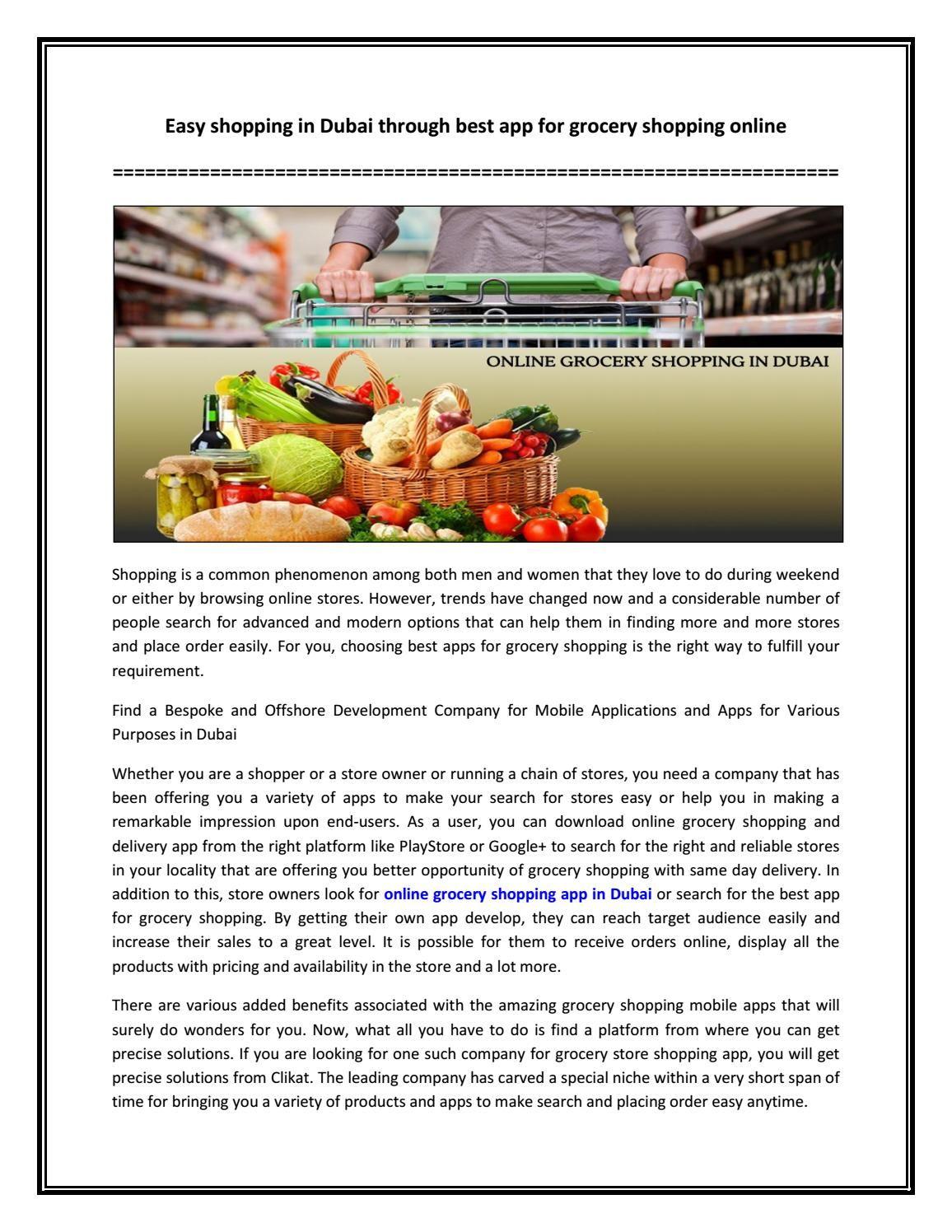 Easy shopping in Dubai through best app for grocery