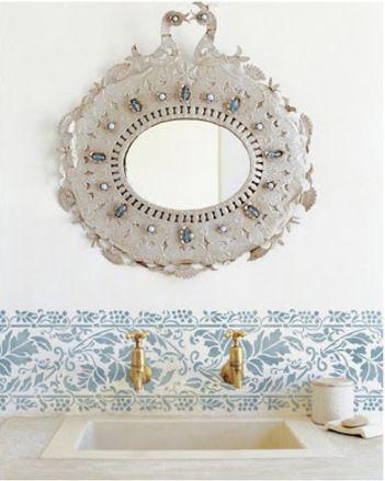 Peacock mirror and bathroom stencil