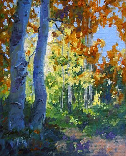 "Beautiful Aspens inspired by one of my photos  ~""Sierra's Radiant Aspens"" by Nancy Romanovsky"