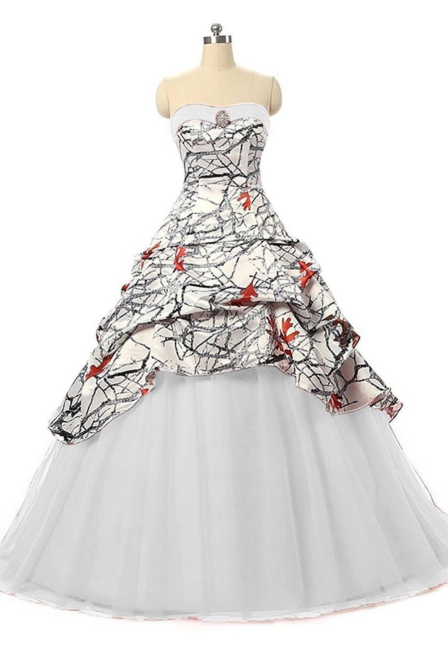 f687d4d4b4333 Custom White Camo Wedding Dresses Black Red Ball Gown Camouflage