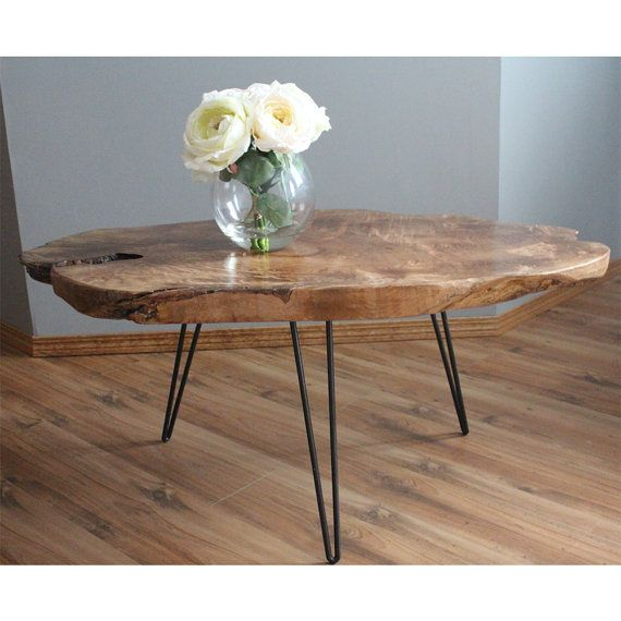 Beautiful Statement Raw Edge Hair Pin Table Handmade And One Of A Kind Glazed For A Protective Fin Wood Table Rustic Raw Wood Coffee Table Kitchen Table Wood