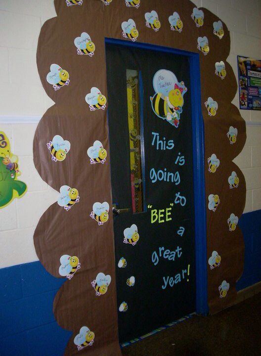 Classroom Ideas With Bees ~ Classroom door decoration bee theme hawthorne themed