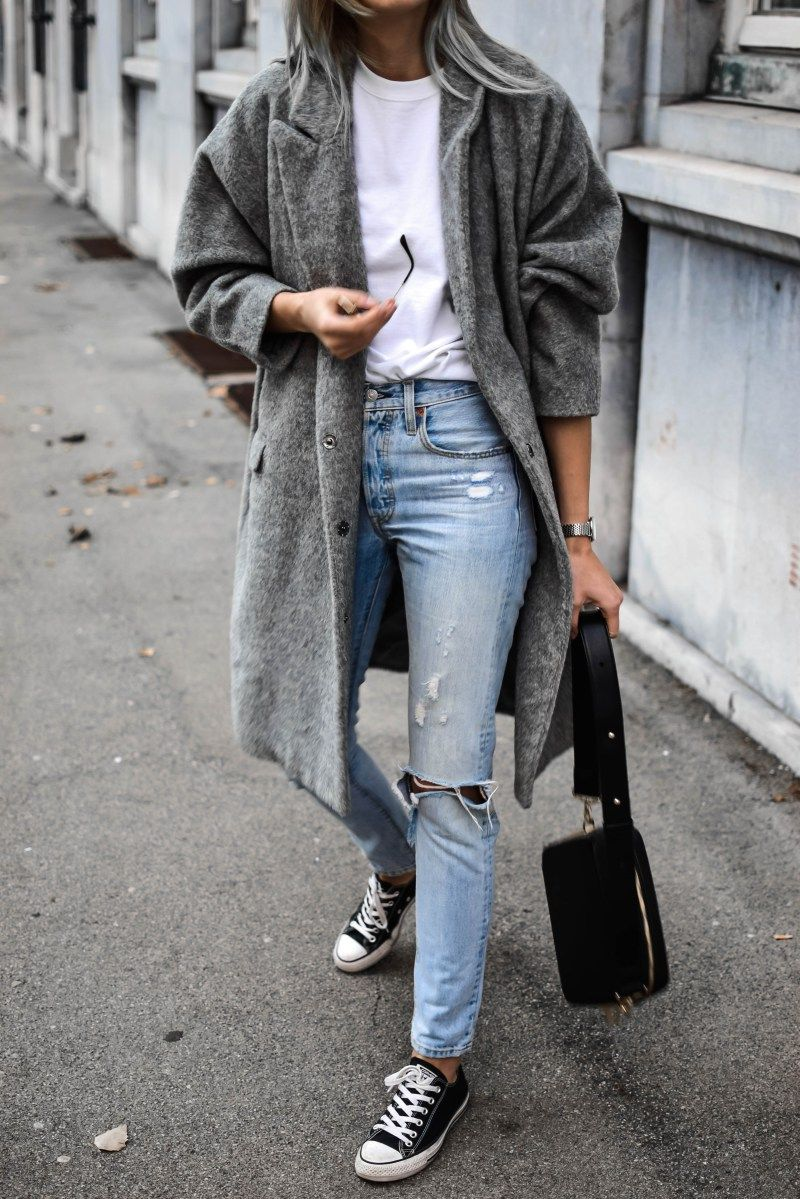 How to style oversized grey coat | Sneakers fashion outfits