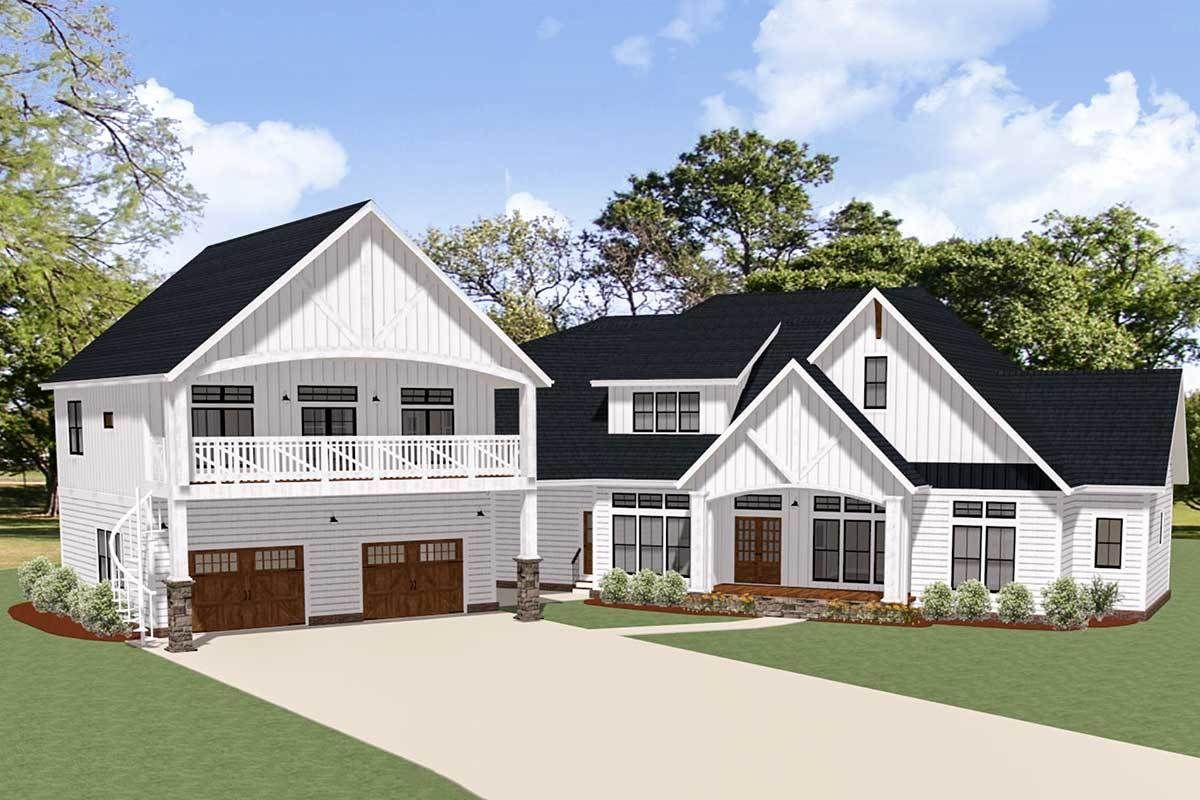 Plan 46384la New American House Plan With Separate Garage Apartment American Houses Dream House Plans House Plans Farmhouse